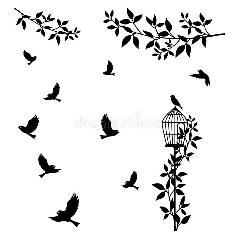 树枝、鸟和鸟笼 皇族释放例证