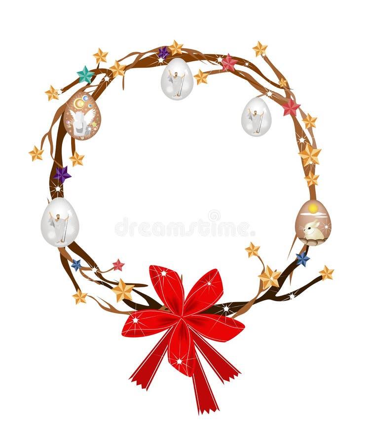 树枝圣诞节花圈用复活节彩蛋 皇族释放例证