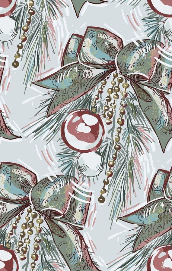 树枝球弓圣诞节新年蓝色桃红色无缝的样式油漆织地不很细传染媒介 皇族释放例证