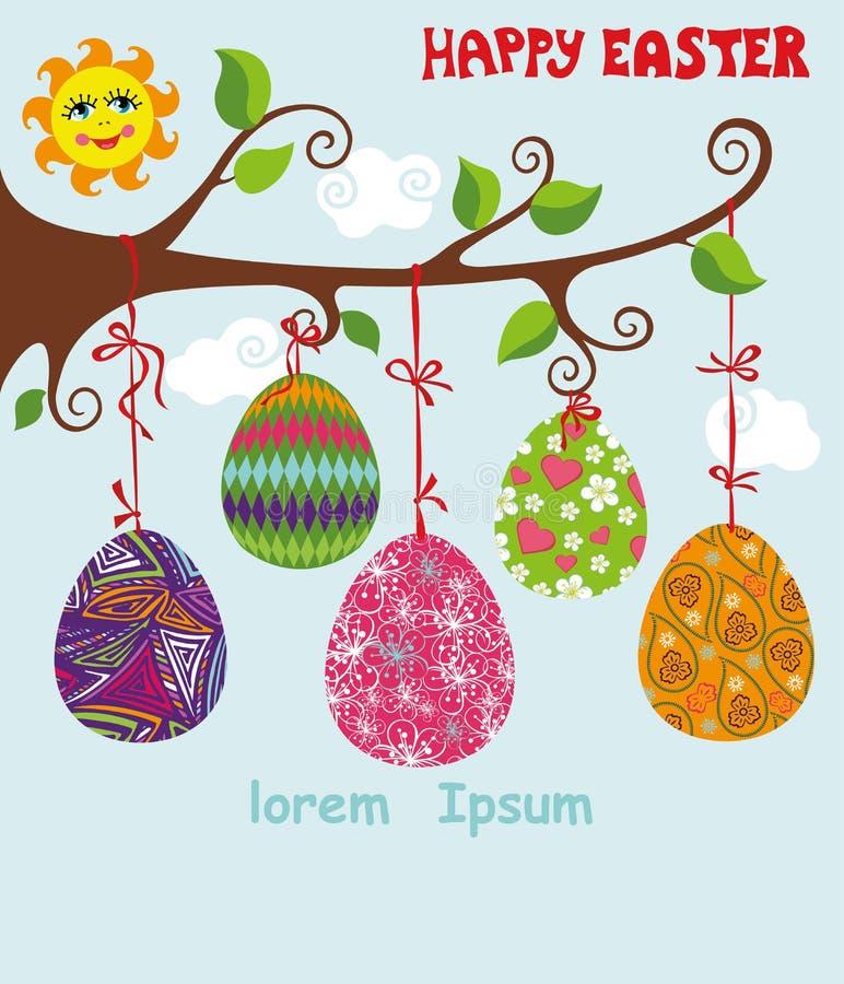 树枝用在丝带的复活节彩蛋 向量例证