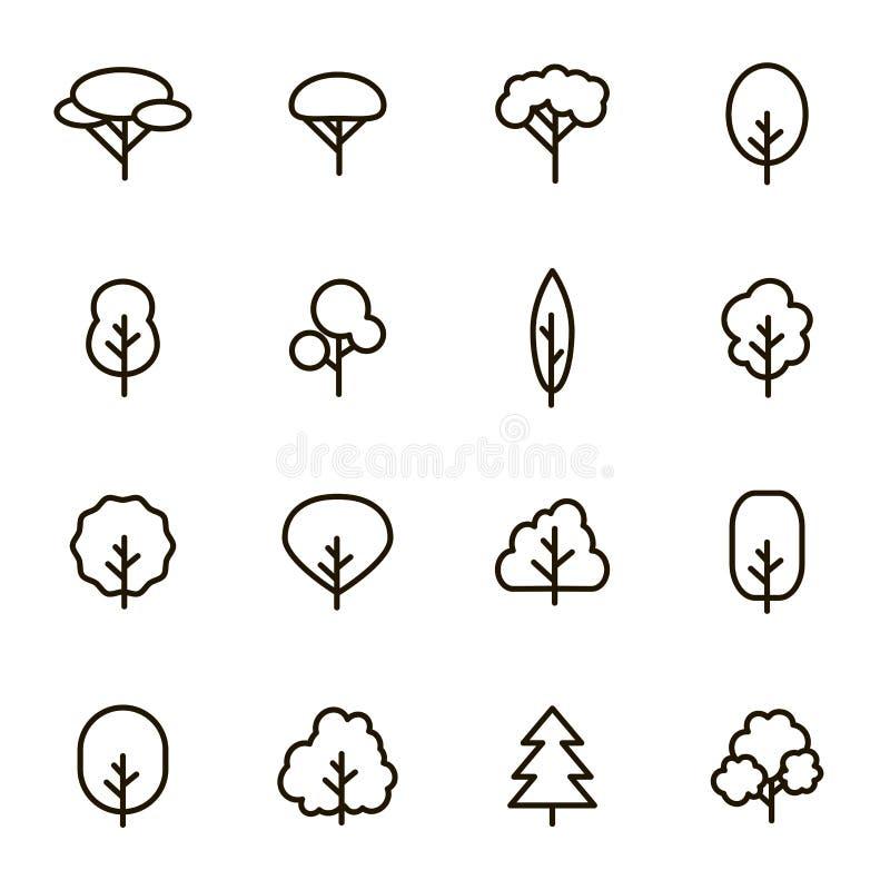 树标志染黑稀薄的线象集合 ?? 向量例证