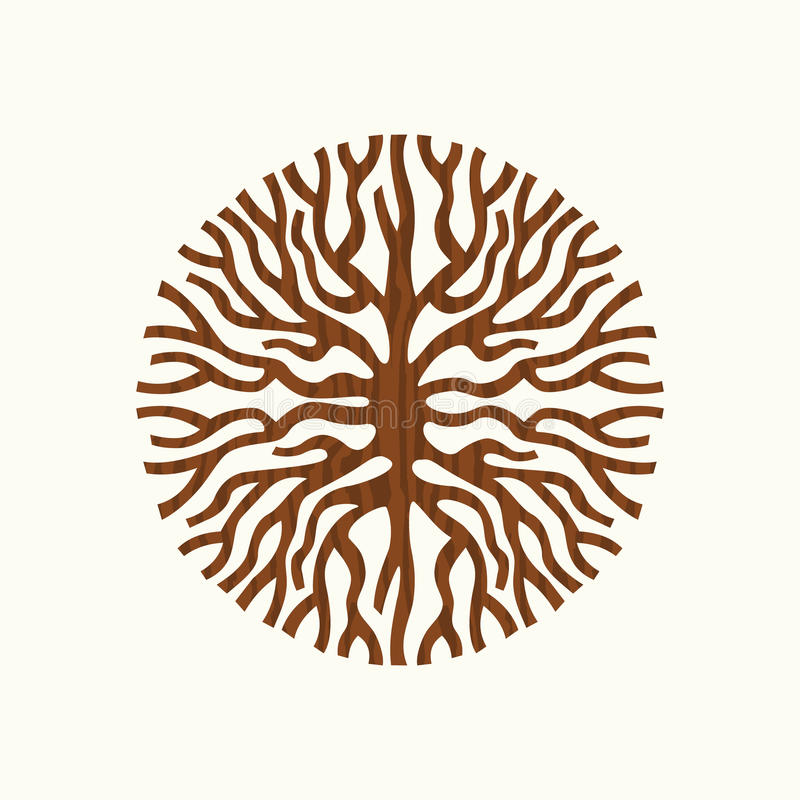 树根概念自然标志例证 向量例证