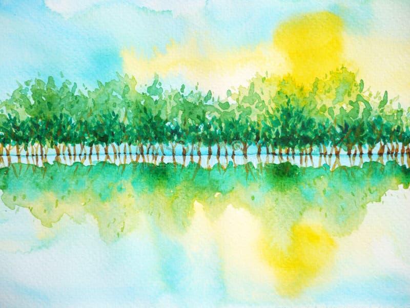 树森林反射水晴朗的天空,水彩绘画 向量例证