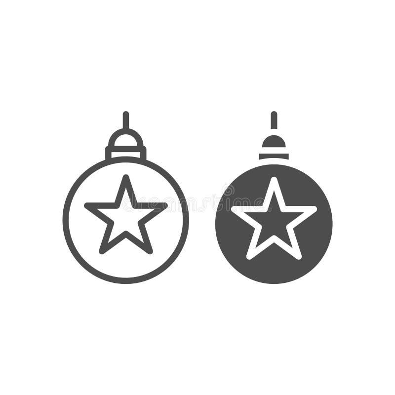 树玩具线和纵的沟纹象 新年装饰在白色隔绝的传染媒介例证 圣诞树地球概述 库存例证