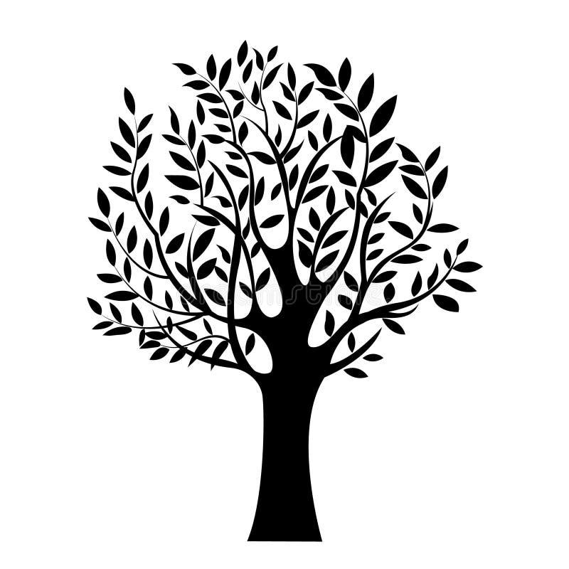 黑树的例证,被隔绝的自然标志,剪影 库存例证