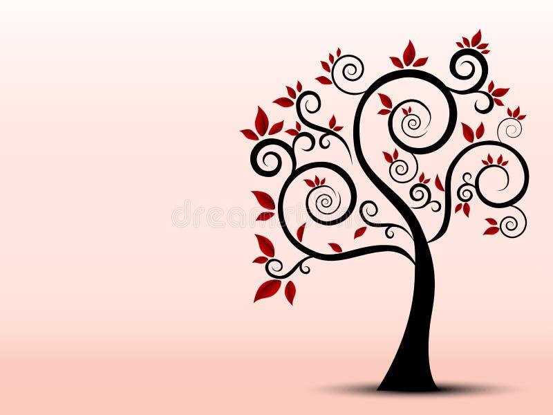 树的剪影用艺术感觉填装了 向量例证