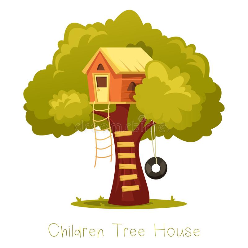 树的木孩子房子 库存例证