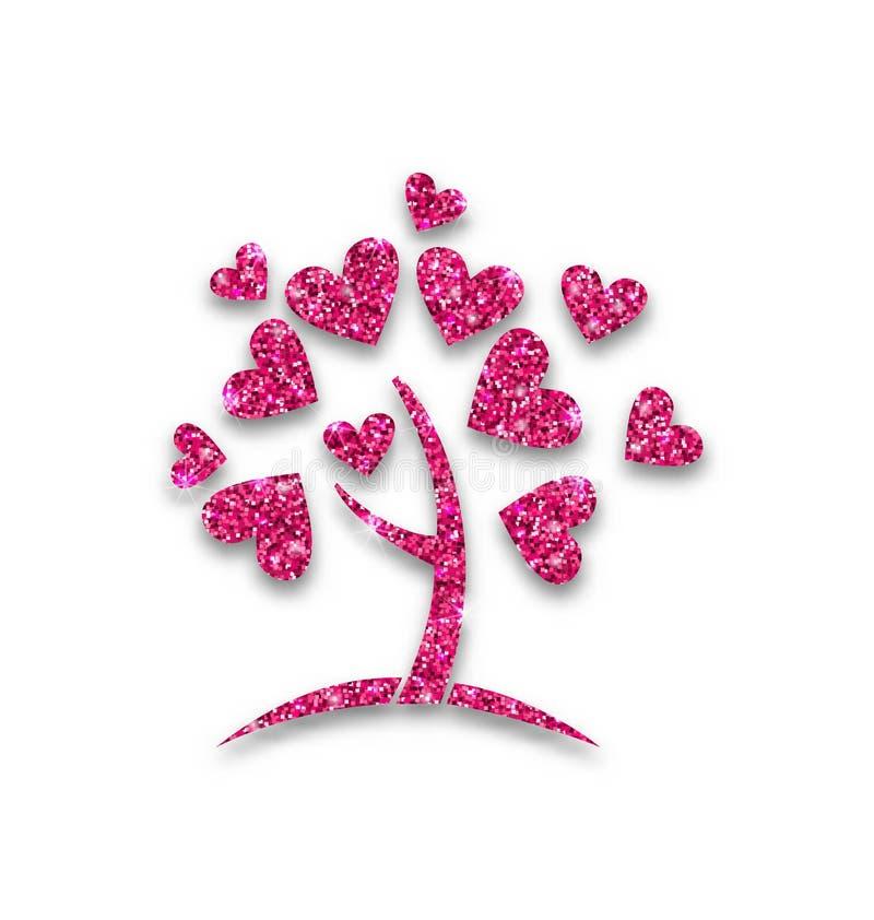 Download 树的概念与闪烁心脏叶子的 向量例证. 插画 包括有 剪切, 淡光, 逗人喜爱, 粉红色, 微光, 花卉, 保险开关 - 62529687
