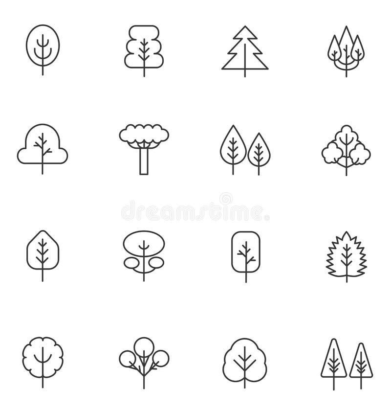 树稀薄的线被设置的传染媒介象 导航概述冲程植物和树的汇集 向量例证
