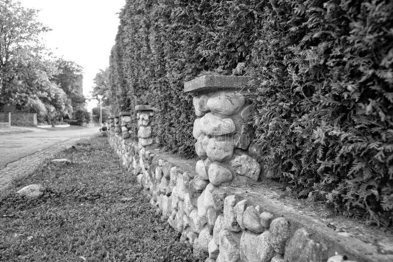 树篱和一点石墙附寄物产 免版税库存照片