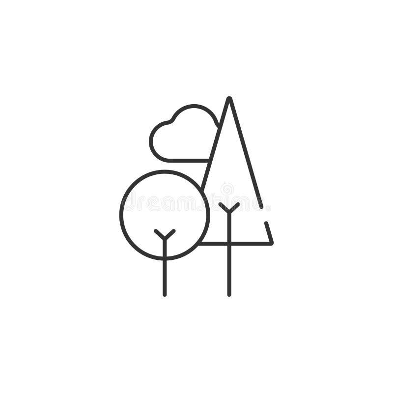 树线性象 简单的元素例证 从生态汇集集合的树线性标志设计 能用于网和MOBIL 向量例证
