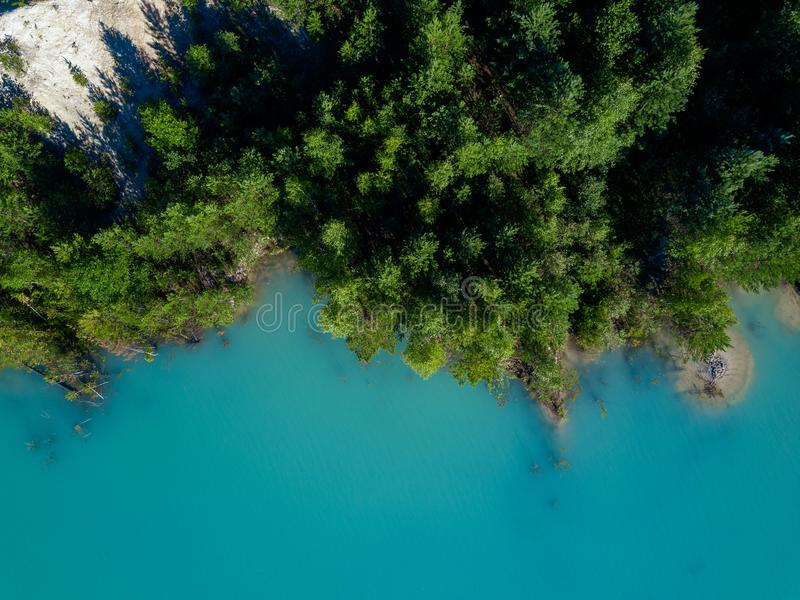 树老太婆空中寄生虫照片生长在tourquoise水,俄罗斯中的 库存照片