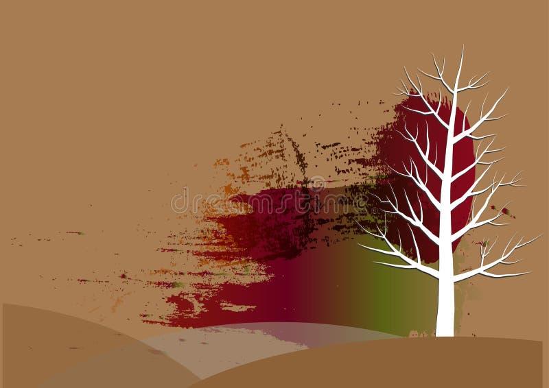 树背景,白色树纸削减了水彩背景,传染媒介例证 向量例证