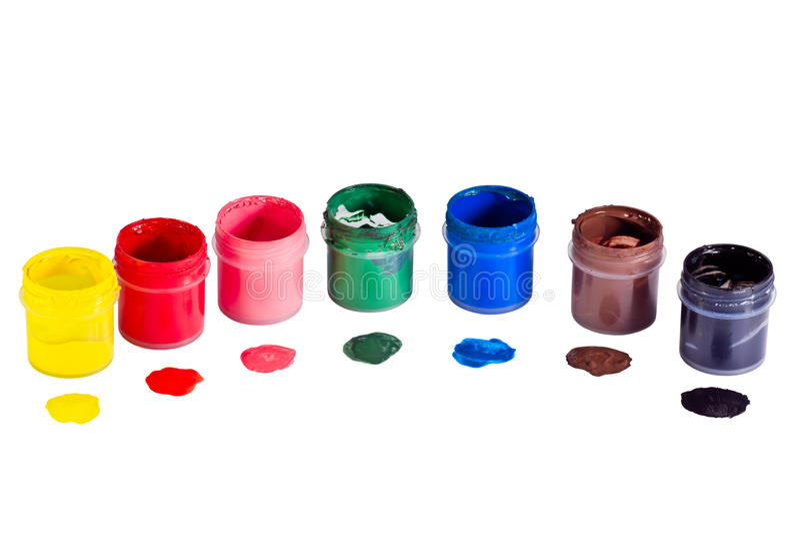 树胶水彩画颜料刺激油漆 库存图片