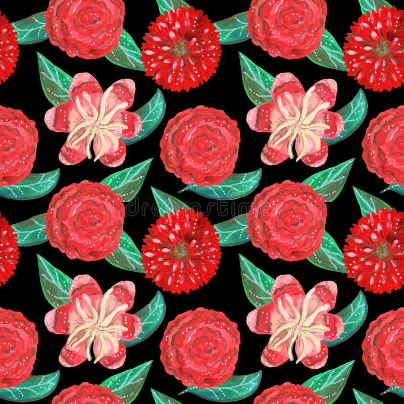 树胶水彩画颜料红色装饰热带和墨西哥花和绿色叶子的无缝的样式 免版税图库摄影