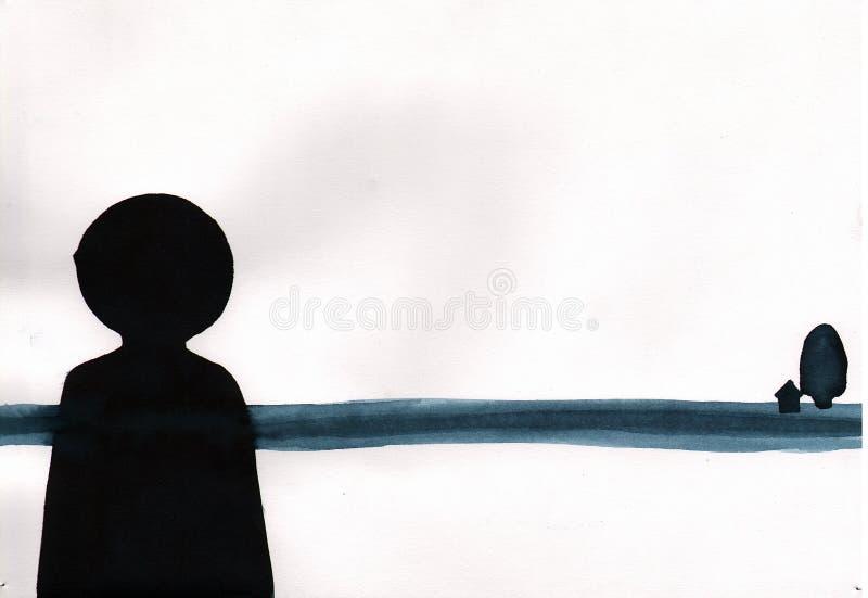 绘画树胶水彩画颜料样式摘要最小的艺术-偏僻的黑色f 向量例证