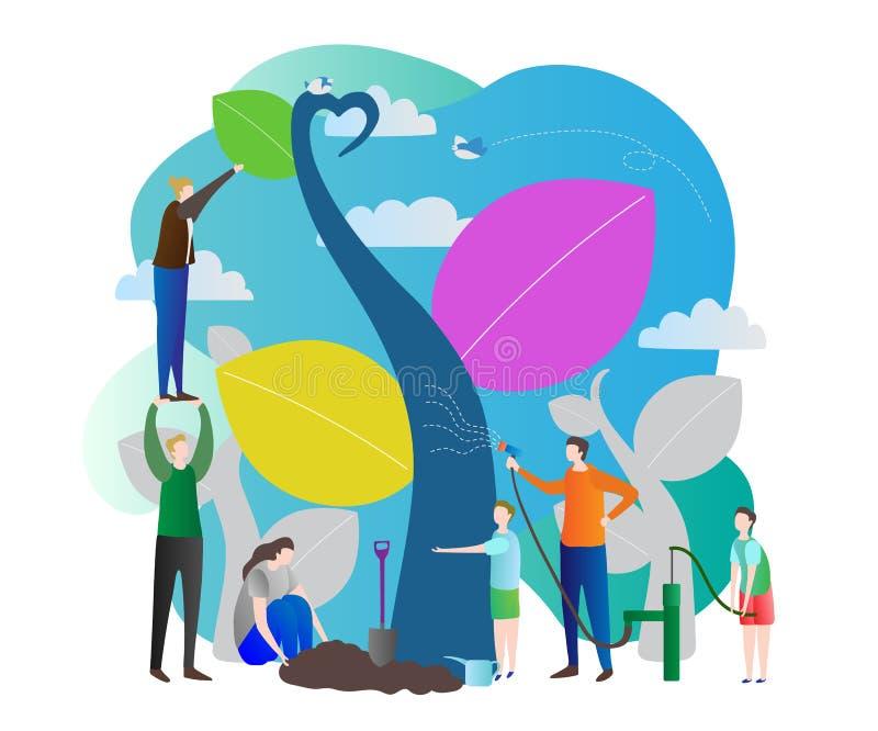 树苗与哺育自然,世界行星地球的绿色未来的生态关心的传染媒介例证 人工作 皇族释放例证