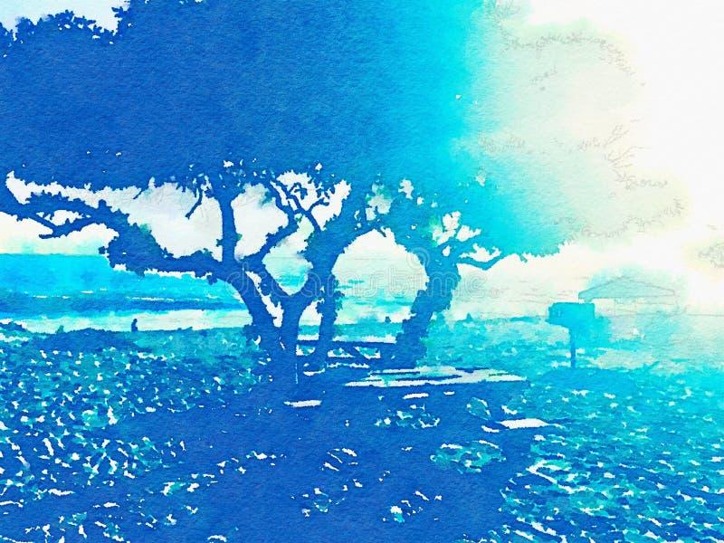 树蓝色剪影在阳光下在海滩 向量例证
