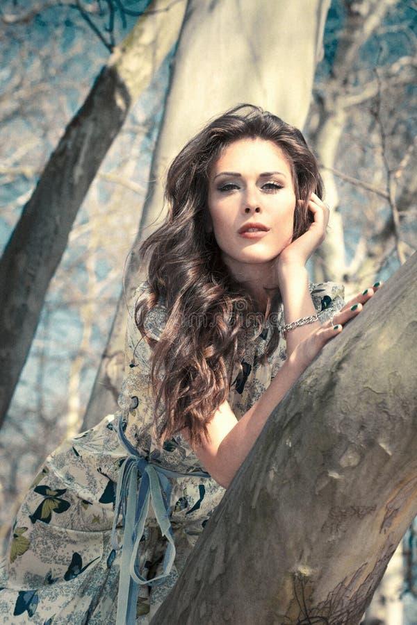 树顶浪漫夏日女人肖像 图库摄影