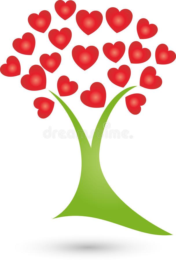 树,心脏、自然疗者和健康商标植物  向量例证