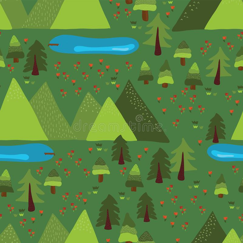树,森林,湖,草甸,在绿色背景的山 Mountain湖室外场面无缝的传染媒介样式 自然,全国 向量例证