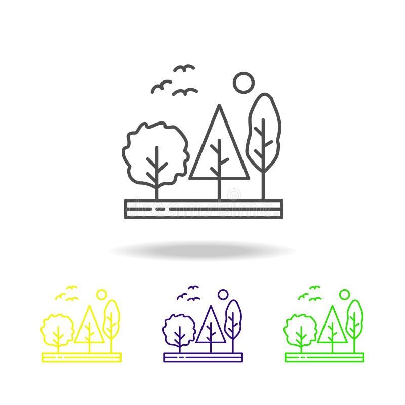 树,森林,自然,鸟上色了象 能为网,商标,流动应用程序,UI,UX使用 皇族释放例证
