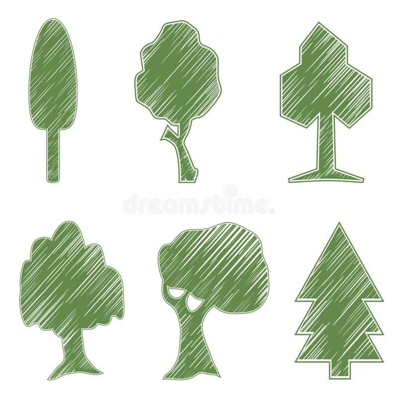 树,橡木,云杉,灌木,杨柳,符号象 库存例证
