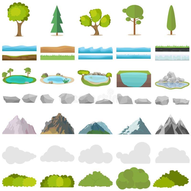 树,石头,湖,山,灌木 一套自然的现实元素 皇族释放例证