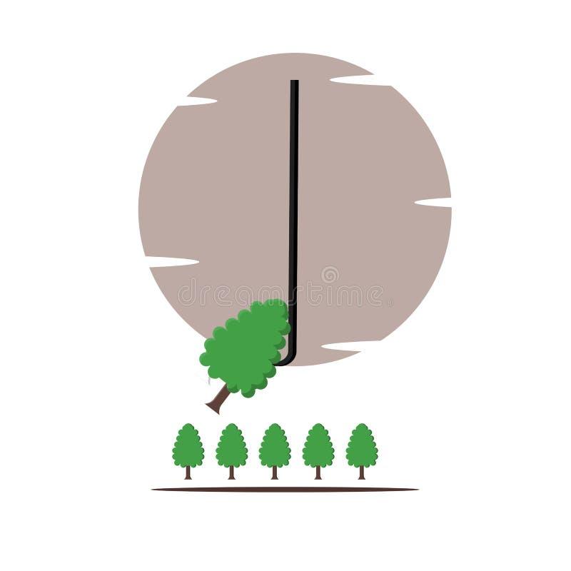 树,钓鱼,说明自然例证-传染媒介 向量例证