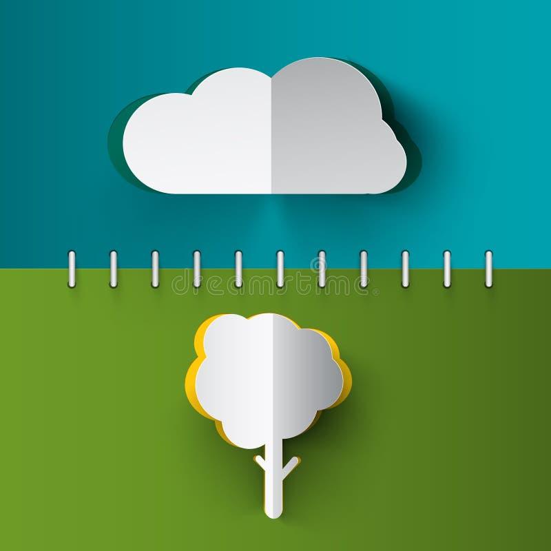 树-云彩纸裁减传染媒介笔记本 库存例证