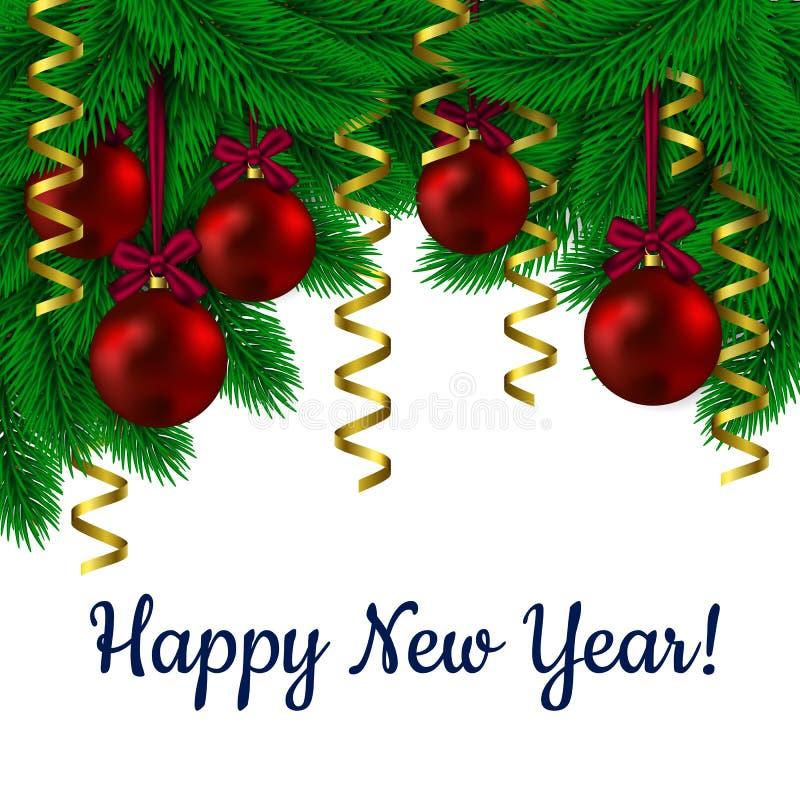 树绿色分支与垂悬红色圆五彩纸屑和的玩具的 新年好 与圣诞节装饰冷杉枝杈的贺卡 库存例证