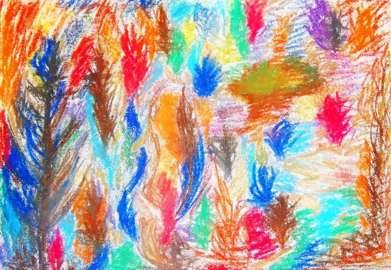 树 颜色绘画 在水彩画纸的软绵绵柔和的淡色彩 皇族释放例证