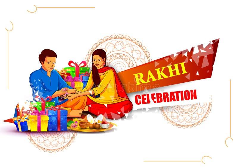 栓印地安节日的Raksha Bandhan的兄弟和姐妹装饰的Rakhi 库存例证