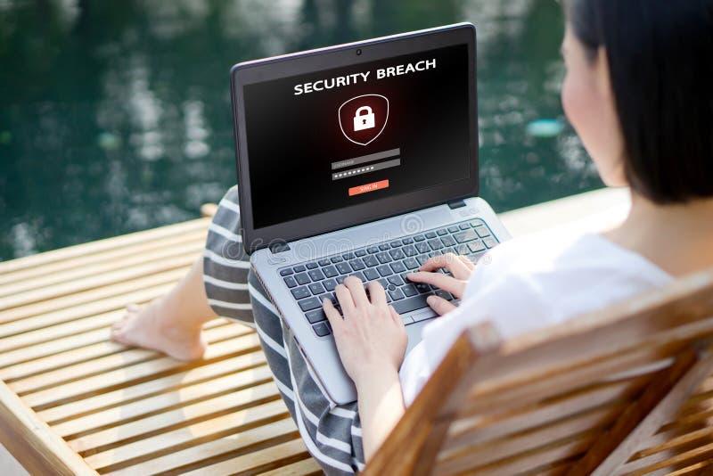 栓有密码注册的在屏幕上,网络安全的手手提电脑 库存图片
