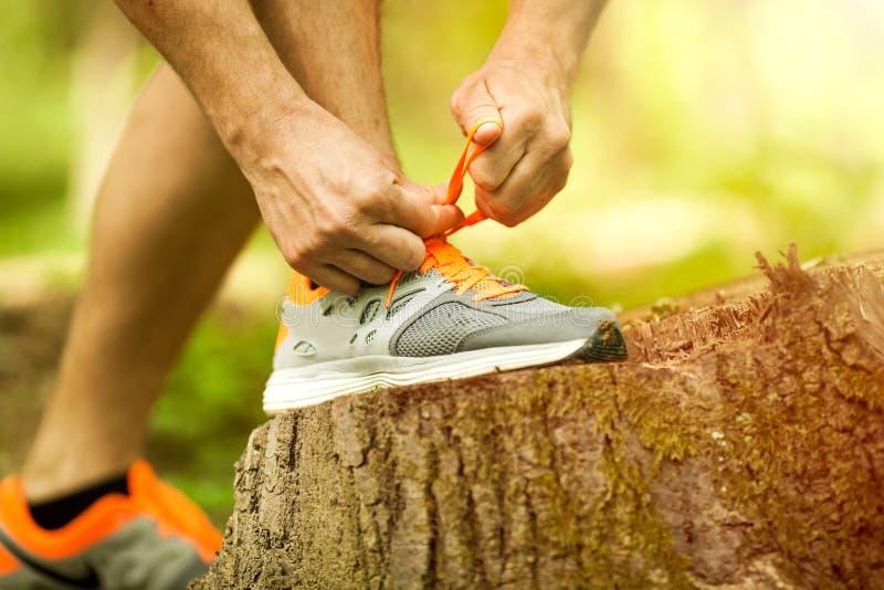 栓他的鞋子的年轻人赛跑者在公园 免版税图库摄影