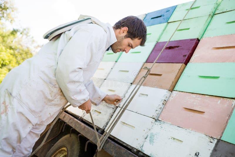 栓绳索被堆积的蜂窝条板箱的蜂农 图库摄影