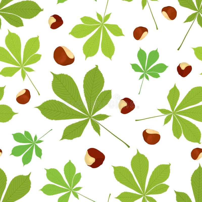 栗子叶子和坚果的传染媒介无缝的样式在颜色在白色背景 向量例证