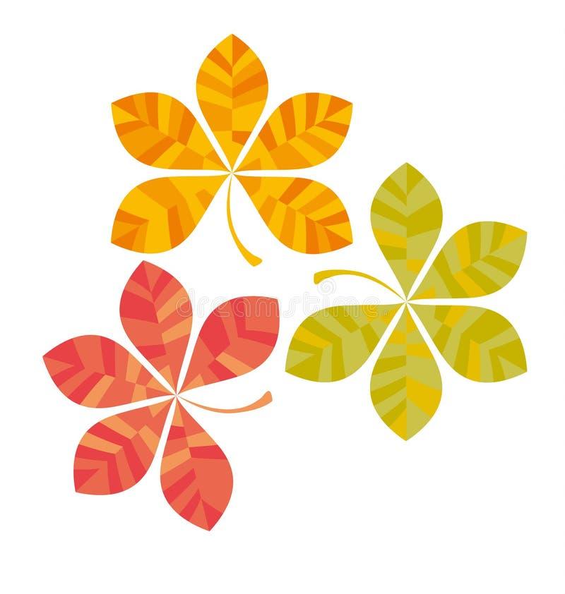 栗子抽象风格化秋天留下卡片模板 库存例证