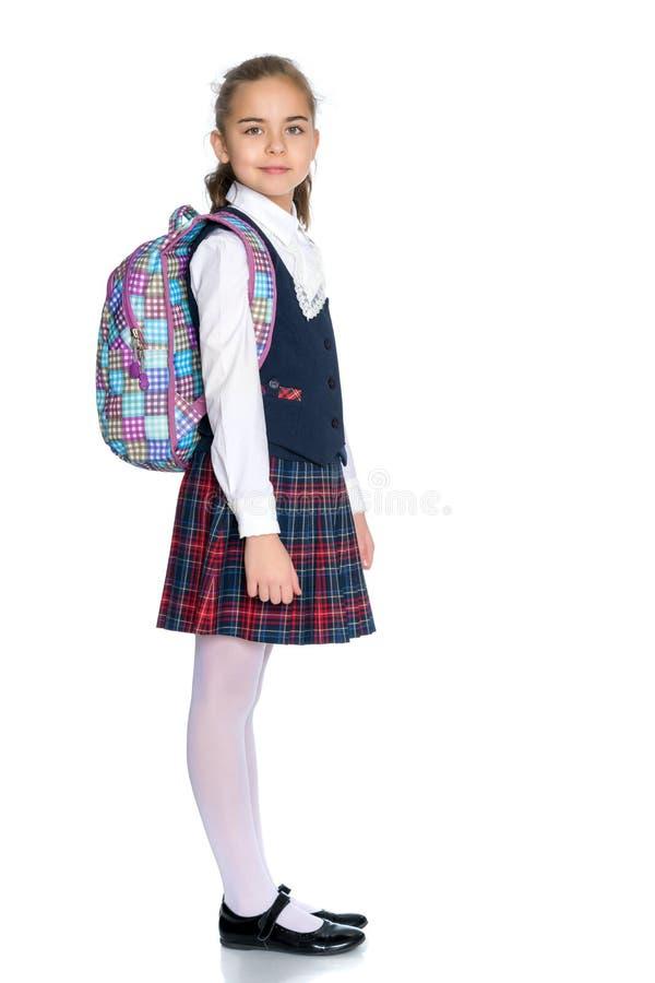 校服的美丽的小女孩 库存照片