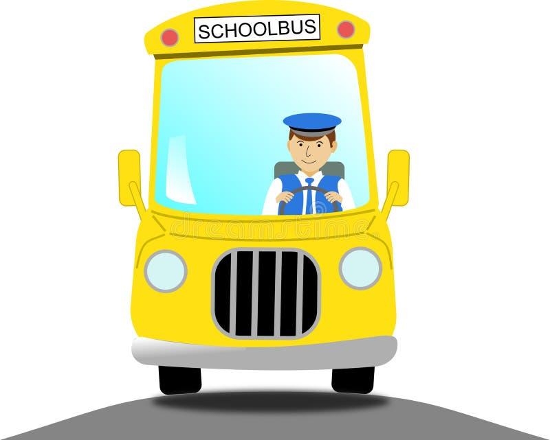 校车司机在一辆黄色校车上 免版税库存照片