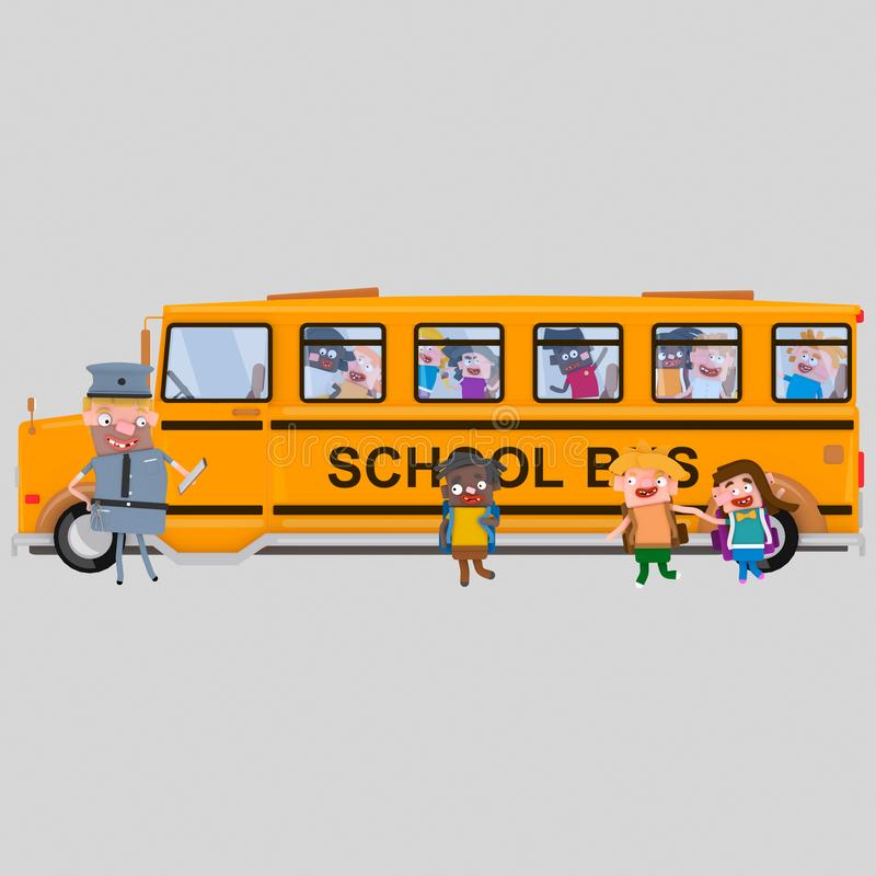 校车等待的学生 3d 向量例证