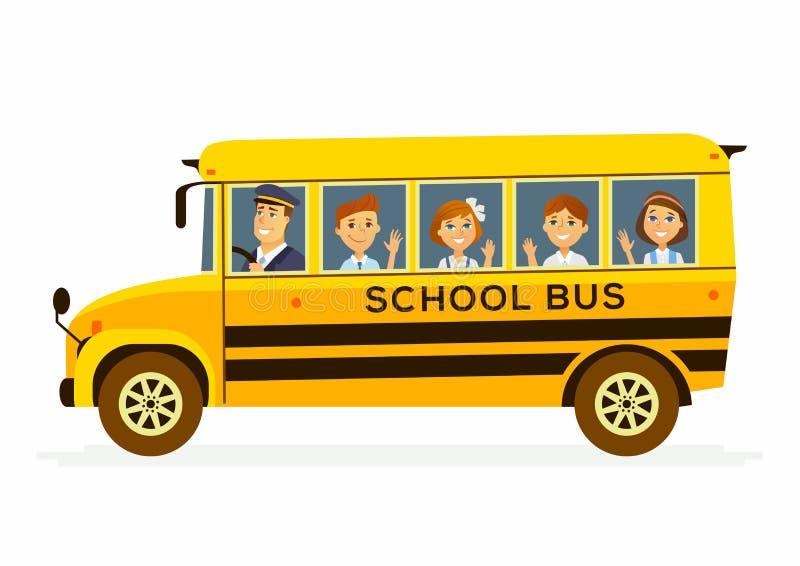 校车-愉快的学生字符车的 库存例证