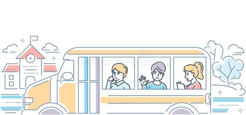 校车-现代五颜六色的线设计样式例证 向量例证
