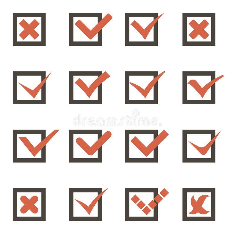校验标志标志壁虱和十字架象传染媒介 向量例证