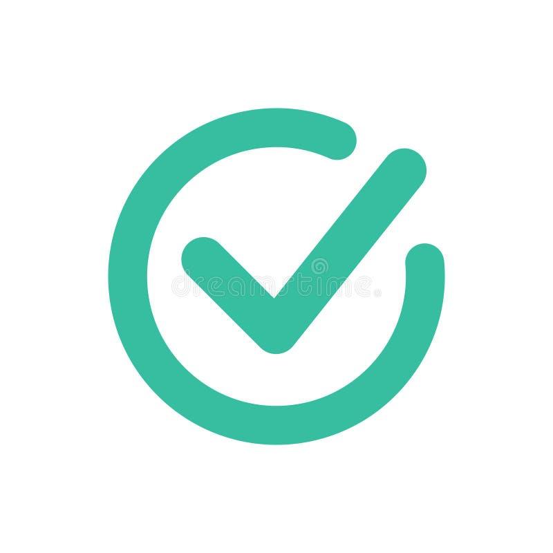 校验标志象标志传染媒介 壁虱和十字架标志 绿色检查号象,隔绝在白色背景 挑选按钮 库存例证