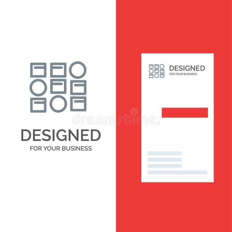 样式、系统、数据科学、样式系统灰色商标设计和名片模板 皇族释放例证
