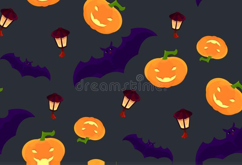 样式为万圣夜用笑的南瓜、棒和盘旋的灯笼 皇族释放例证