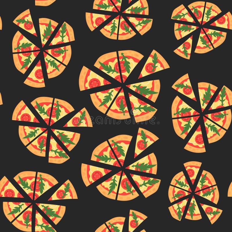 样式传染媒介纹理用margherita薄饼 在一个平的样式的切片 无缝的背景 向量例证