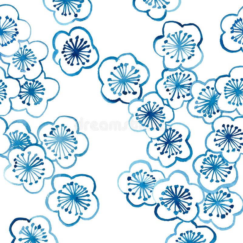 样式传统陶瓷的亚洲樱花。钴蓝色。 皇族释放例证