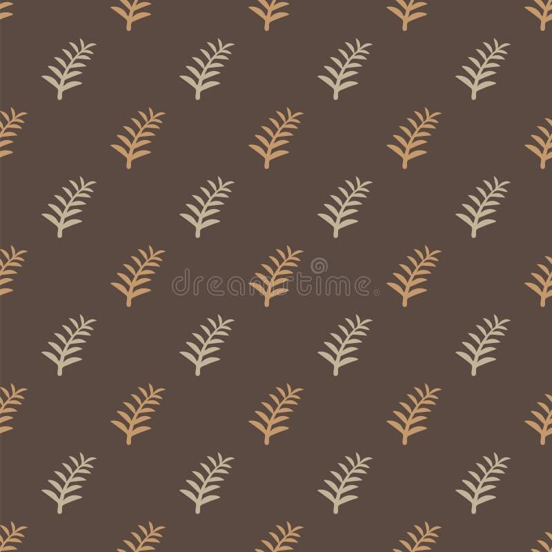 样式在棕色背景的树枝 枝杈树无缝的样式 在米黄样式背景的光秃的分支 库存例证
